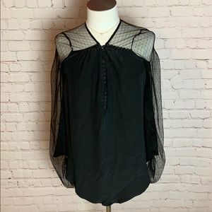 BCBGMaxAzria 100% silk blouse with lace detail